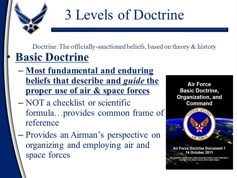 3 Levels of Doctrine Doctrine: The officially-sanctioned beliefs, based on theory & history Basic Doctrine – Most fundamental and enduring beliefs that describe and guide the proper use of air & space forces – NOT a checklist or scientific formula…provides common frame of reference – Provides an Airman's perspective on organizing and employing air and space forces