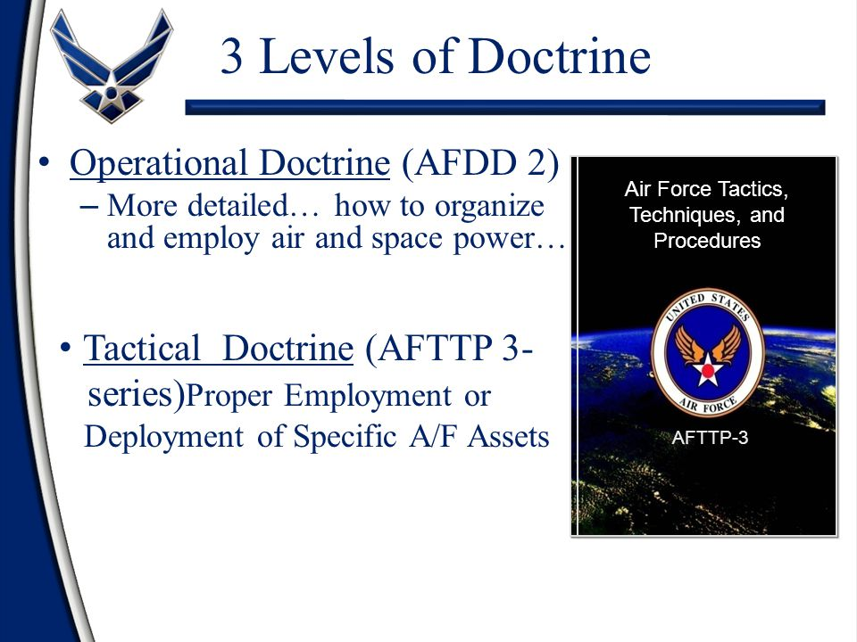 Operational Doctrine (AFDD 2) – More detailed… how to organize and employ air and space power… Operations And Organization Air Force Doctrine Document 2 Tactical Doctrine (AFTTP 3- series) Proper Employment or Deployment of Specific A/F Assets Air Force Tactics, Techniques, and Procedures AFTTP-3 3 Levels of Doctrine