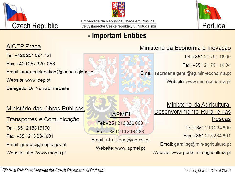 Czech Republic Lisboa, March 31th of 2009 Bilateral Relations between the Czech Republic and Portugal Portugal - Important Entities AICEP Praga Tel: +420 251 091 751 Fax: +420 257 320 053 Email: praguedelegation@portugalglobal.pt Website: www.icep.pt Delegado: Dr.