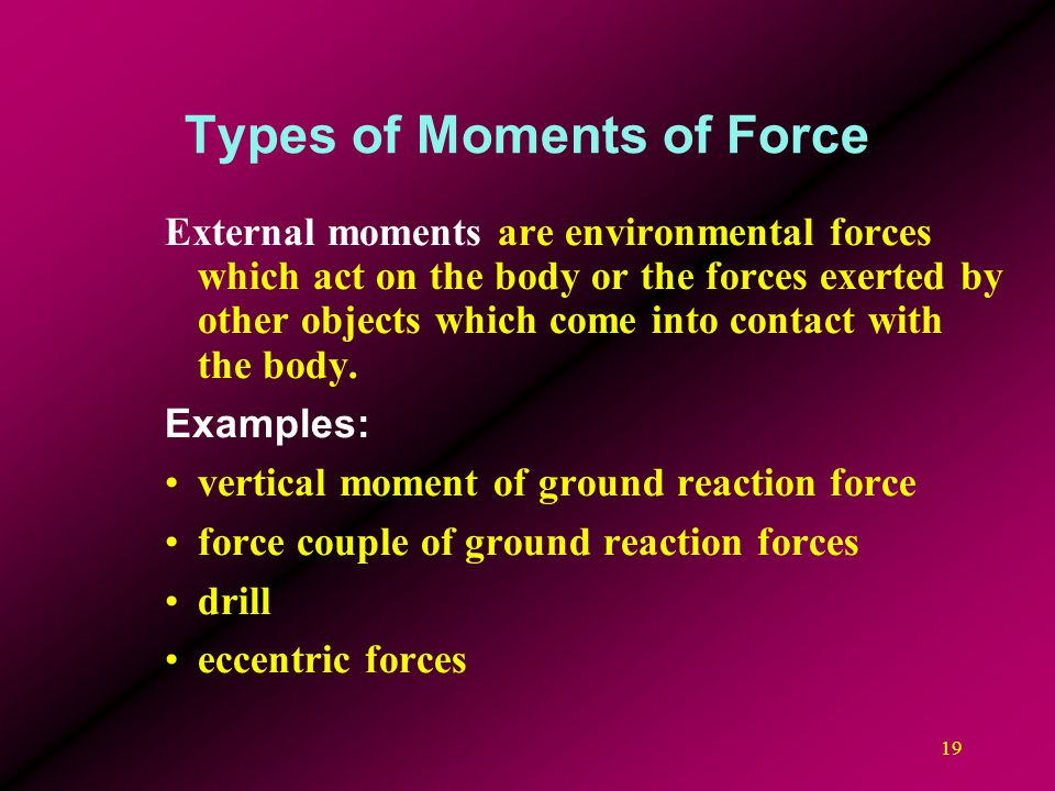 19 Types of Moments of Force External moments are environmental forces which act on the body or the forces exerted by other objects which come into co