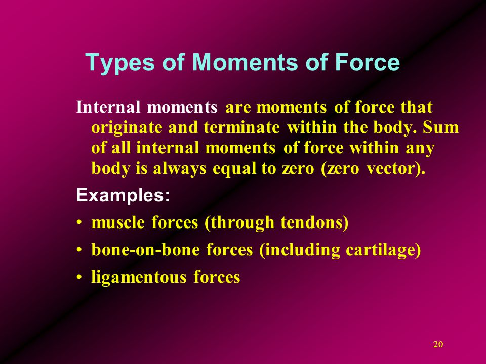 20 Types of Moments of Force Internal moments are moments of force that originate and terminate within the body. Sum of all internal moments of force
