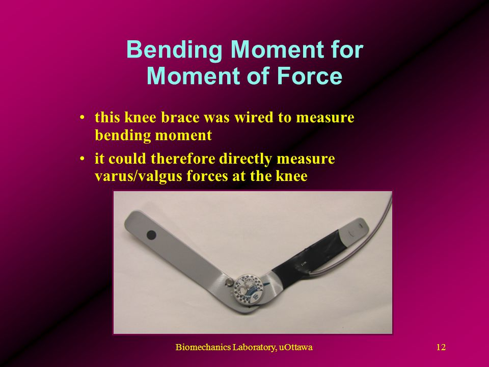 Bending Moment for Moment of Force 12Biomechanics Laboratory, uOttawa this knee brace was wired to measure bending moment it could therefore directly