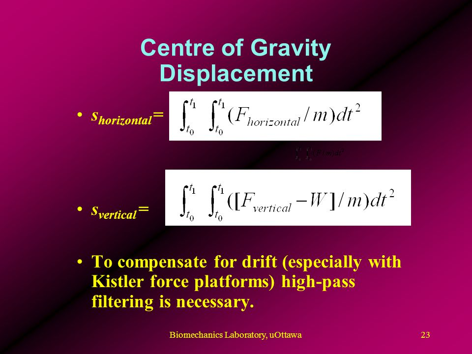 Centre of Gravity Displacement s horizontal = s vertical = To compensate for drift (especially with Kistler force platforms) high-pass filtering is ne