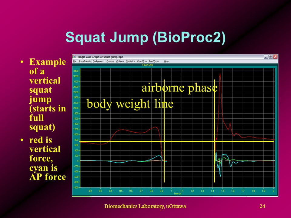 Squat Jump (BioProc2) Example of a vertical squat jump (starts in full squat) red is vertical force, cyan is AP force body weight line airborne phase 24Biomechanics Laboratory, uOttawa