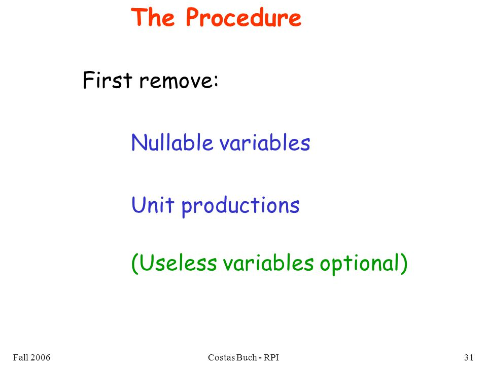 Fall 2006Costas Buch - RPI31 The Procedure First remove: Nullable variables Unit productions (Useless variables optional)