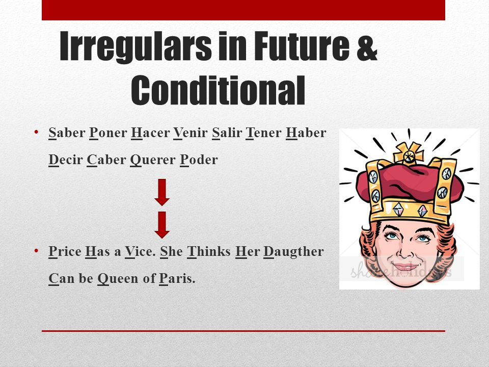 Irregulars in Future & Conditional Saber Poner Hacer Venir Salir Tener Haber Decir Caber Querer Poder Price Has a Vice. She Thinks Her Daugther Can be
