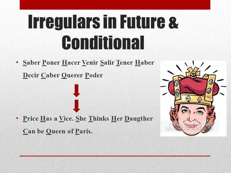 Irregulars in Future & Conditional Saber Poner Hacer Venir Salir Tener Haber Decir Caber Querer Poder Price Has a Vice.