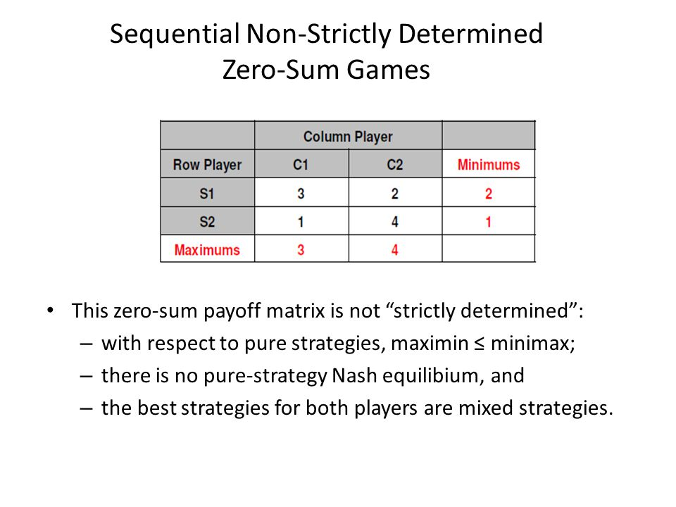 Sequential Non-Strictly Determined Zero-Sum Games This zero-sum payoff matrix is not strictly determined : – with respect to pure strategies, maximin ≤ minimax; – there is no pure-strategy Nash equilibium, and – the best strategies for both players are mixed strategies.