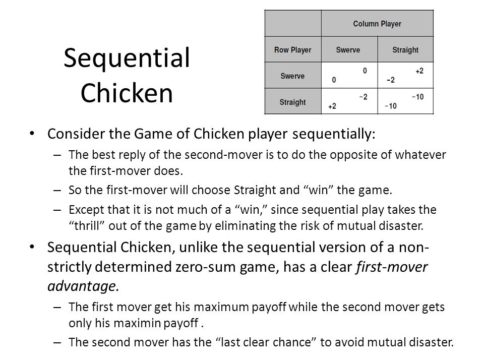 Sequential Chicken Consider the Game of Chicken player sequentially: – The best reply of the second-mover is to do the opposite of whatever the first-mover does.
