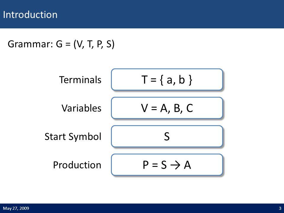 Introduction 3May 27, 2009 Grammar: G = (V, T, P, S) T = { a, b } Terminals V = A, B, C Variables S S Start Symbol P = S → A Production