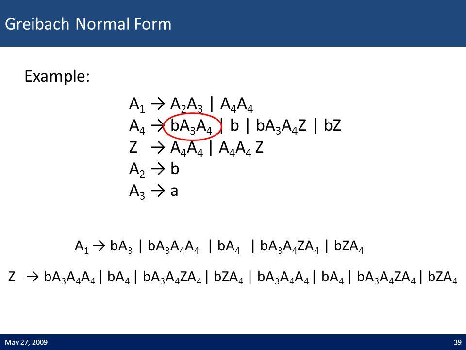 Greibach Normal Form 39May 27, 2009 Example: A 1 → A 2 A 3 | A 4 A 4 A 4 → bA 3 A 4 | b | bA 3 A 4 Z | bZ Z → A 4 A 4 | A 4 A 4 Z A 2 → b A 3 → a Z → bA 3 A 4 A 4 | bA 4 | bA 3 A 4 ZA 4 | bZA 4 | bA 3 A 4 A 4 | bA 4 | bA 3 A 4 ZA 4 | bZA 4 A 1 → bA 3 | bA 3 A 4 A 4 | bA 4 | bA 3 A 4 ZA 4 | bZA 4