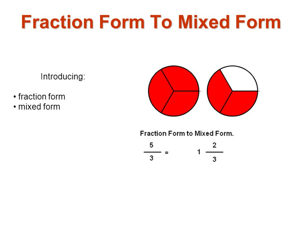 Introducing: fraction form mixed form Fraction Form To Mixed Form