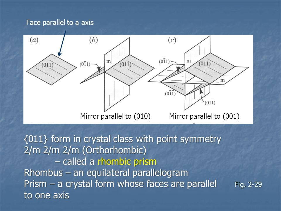 Fig. 2-29 {011} form in crystal class with point symmetry 2/m 2/m 2/m (Orthorhombic) – called a rhombic prism – called a rhombic prism Rhombus – an eq