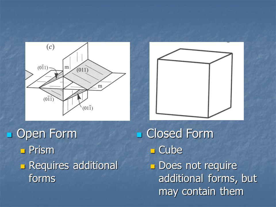 Open Form Open Form Prism Prism Requires additional forms Requires additional forms Closed Form Closed Form Cube Cube Does not require additional forms, but may contain them Does not require additional forms, but may contain them