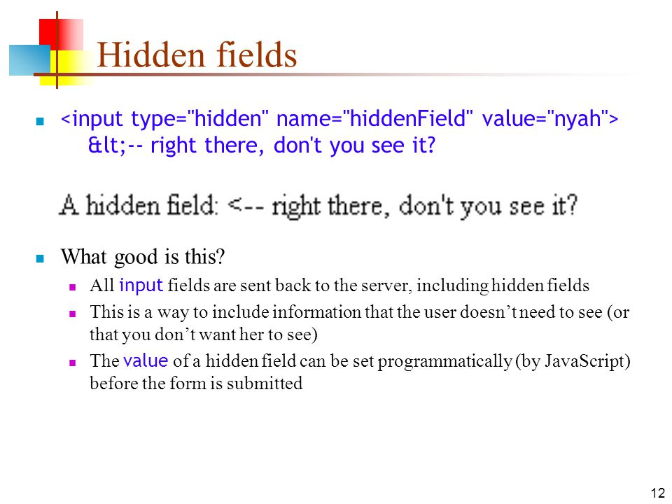 12 Hidden fields <-- right there, don t you see it.