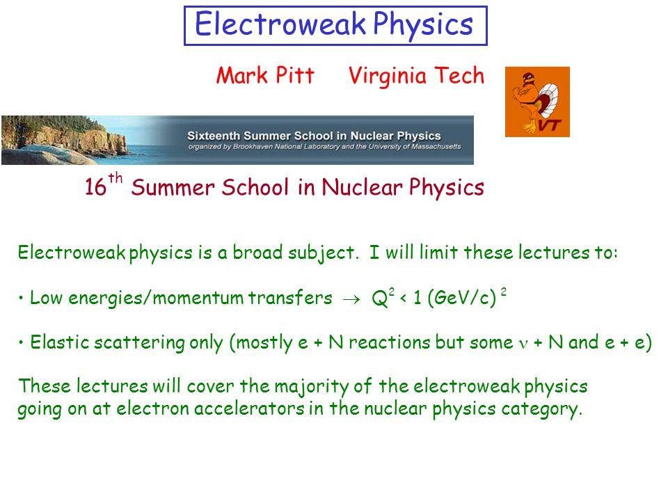 Electroweak Physics Mark Pitt Virginia Tech Electroweak physics is a broad subject.