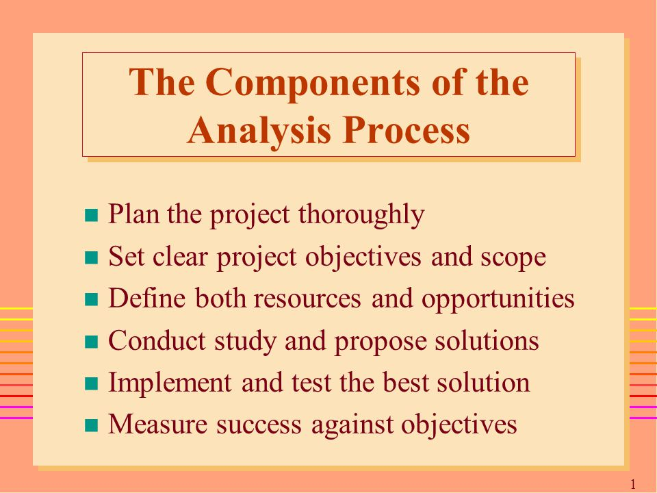 1616 The Components of the Analysis Process n Plan the project thoroughly n Set clear project objectives and scope n Define both resources and opportunities n Conduct study and propose solutions n Implement and test the best solution n Measure success against objectives