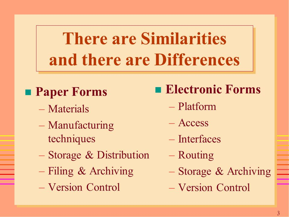 3737 There are Similarities and there are Differences n Paper Forms –Materials –Manufacturing techniques –Storage & Distribution –Filing & Archiving –Version Control n Electronic Forms –Platform –Access –Interfaces –Routing –Storage & Archiving –Version Control