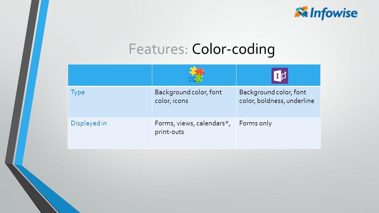 Features: Color-coding TypeBackground color, font color, icons Background color, font color, boldness, underline Displayed inForms, views, calendars*,