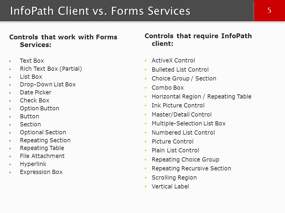 6 6 InfoPath Features not supported by Forms Filters Submitting data to a database Submitting ADO.NET Change Dataset Alerts that display dialog boxes Rules to open a new form Digitally signing entire form XSL customizations with xd:preserve Data Connections across site collections Custom code to save forms Custom code to merge data Legacy Code using InfoPath.SemiTrust User Roles / Current User Role Placeholder Text in Controls Custom Task Panes Prompting users to save changes when closing a form Rules to display a dialog box Protected Views Word-Based Print Views Undo / Redo Check Spelling AutoComplete Information Rights Management Send to Mail Recipient Merge Forms Export to Excel COM Add-Ins There are also differences between what classes and members of the Microsoft.Office.Infopath namespace can be used with Forms Services