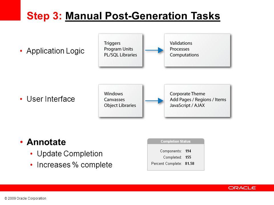 © 2009 Oracle Corporation Track Conversion Progress