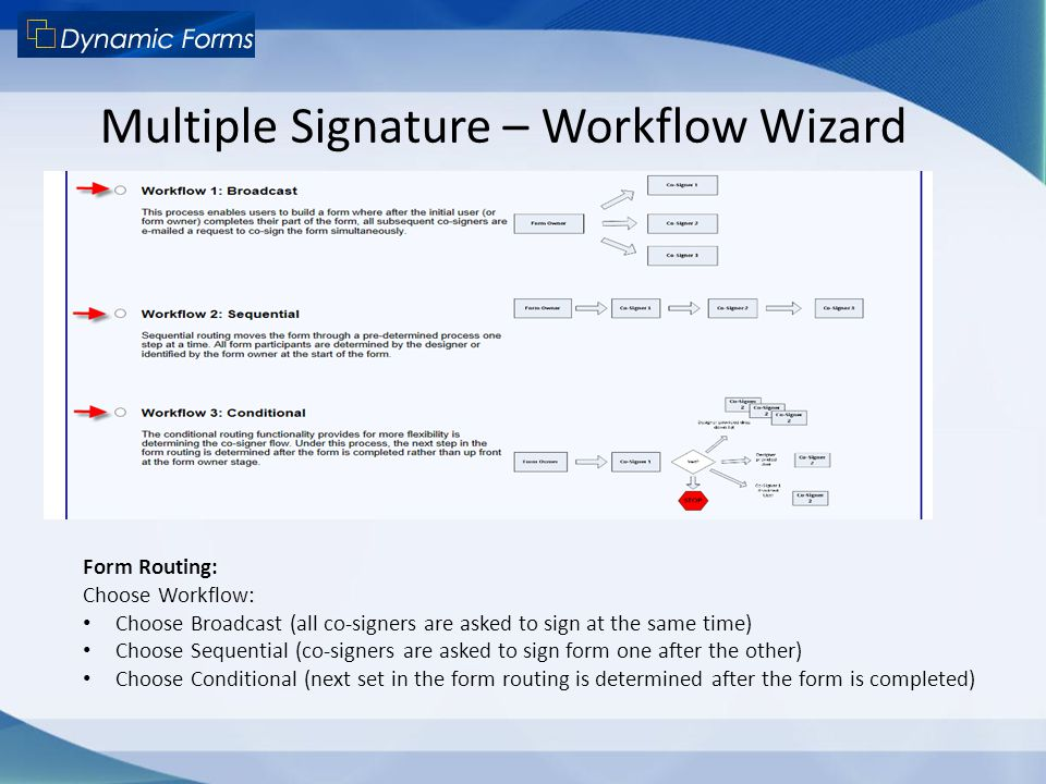 Multiple Signature – Workflow Wizard Form Routing: Choose Workflow: Choose Broadcast (all co-signers are asked to sign at the same time) Choose Sequen