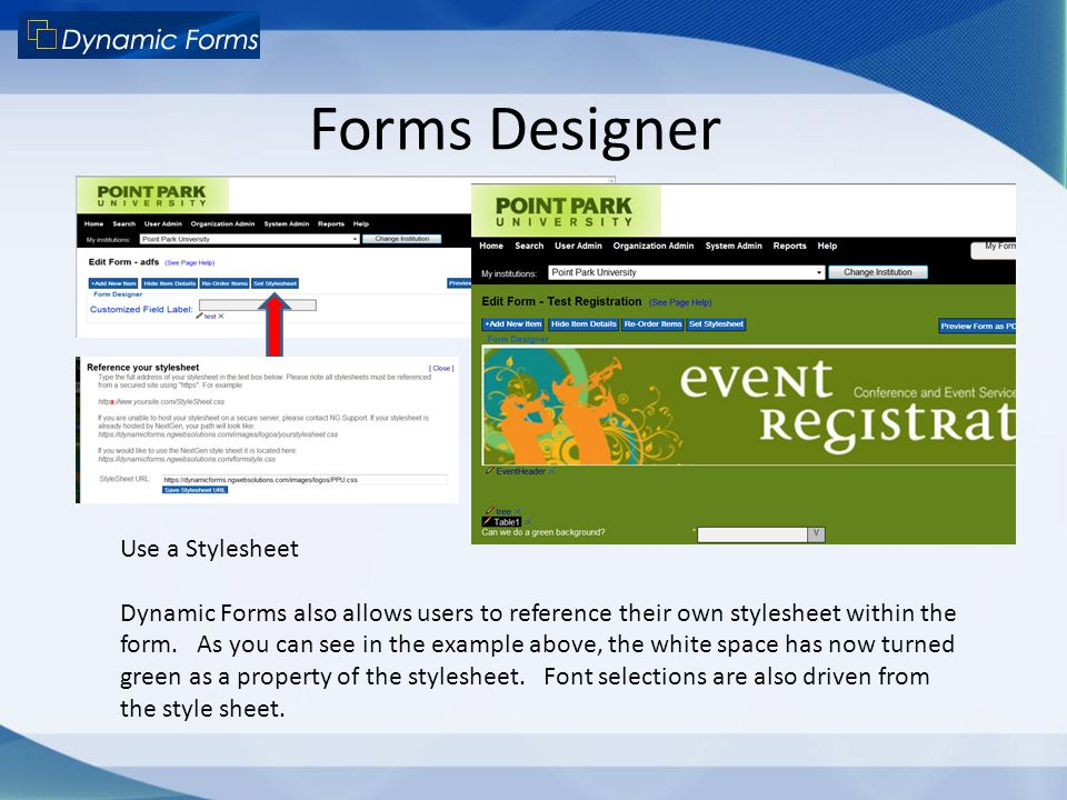 Forms Designer Use a Stylesheet Dynamic Forms also allows users to reference their own stylesheet within the form. As you can see in the example above