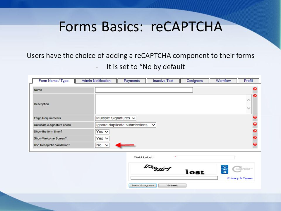 "Forms Basics: reCAPTCHA Users have the choice of adding a reCAPTCHA component to their forms -It is set to ""No by default"