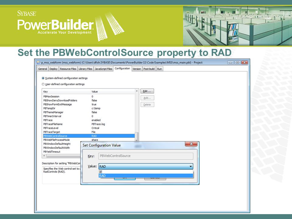 Set the PBWebControlSource property to RAD