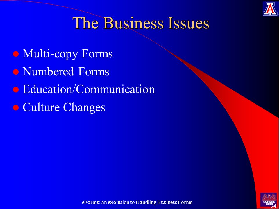 eForms: an eSolution to Handling Business Forms 34 The Business Issues Multi-copy Forms Numbered Forms Education/Communication Culture Changes