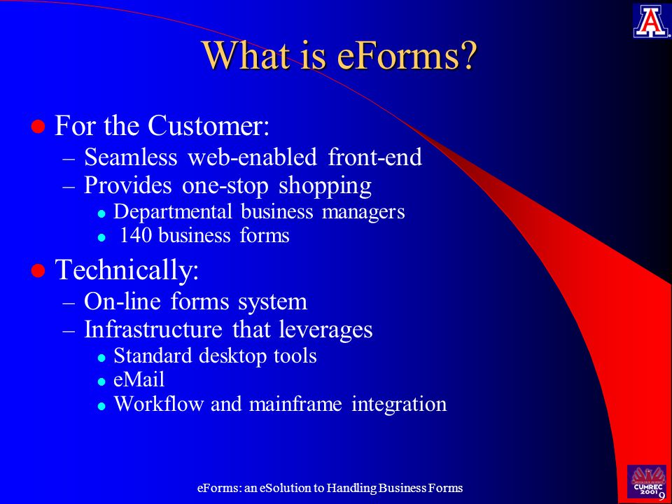 eForms: an eSolution to Handling Business Forms 9 What is eForms.