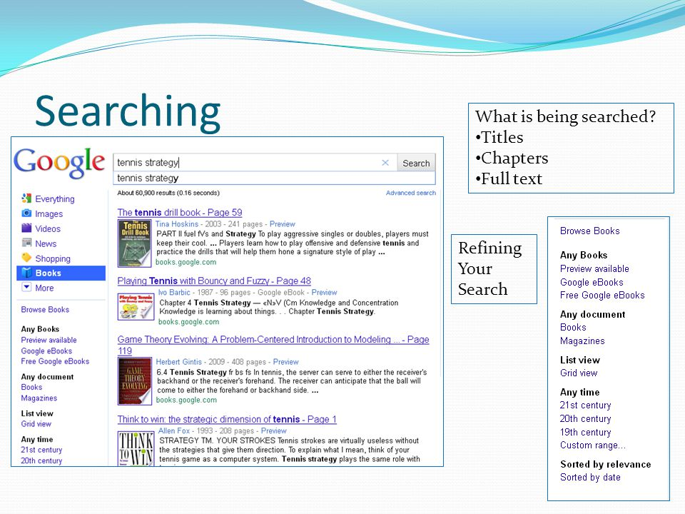 Searching What is being searched Titles Chapters Full text Refining Your Search