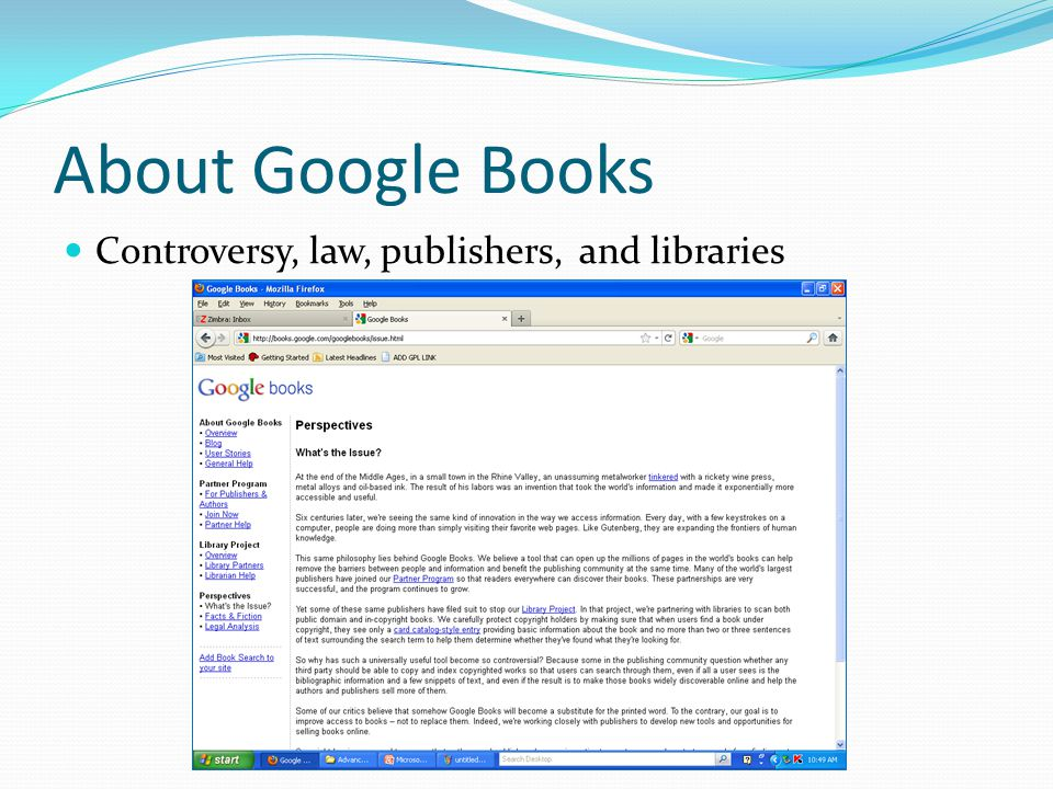 About Google Books Controversy, law, publishers, and libraries