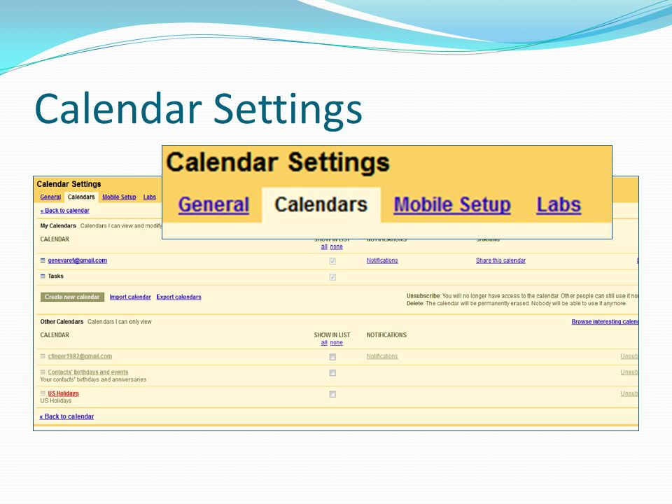 Sharing a Specific Calendar