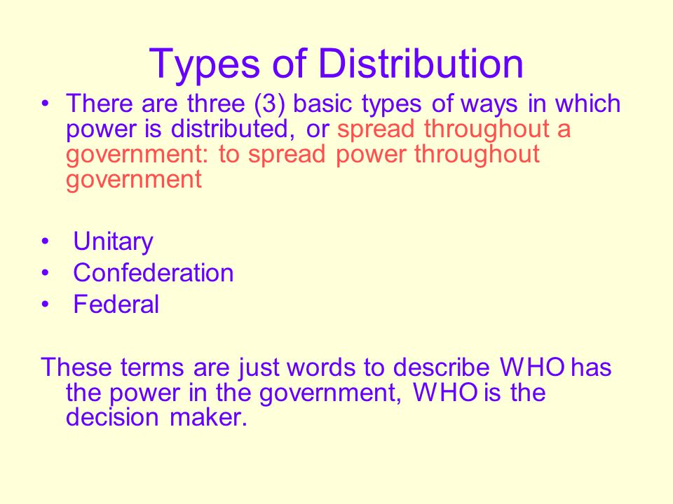 Types of Distribution UNITARY: a form of government in which power is held by one central authority Examples of Unitary governments: Dictatorship, absolute monarchy Countries with Unitary governments: North Korea, Saudi Arabia
