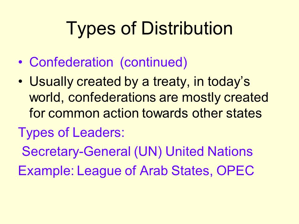 Types of Distribution Confederation (continued) Usually created by a treaty, in today's world, confederations are mostly created for common action tow