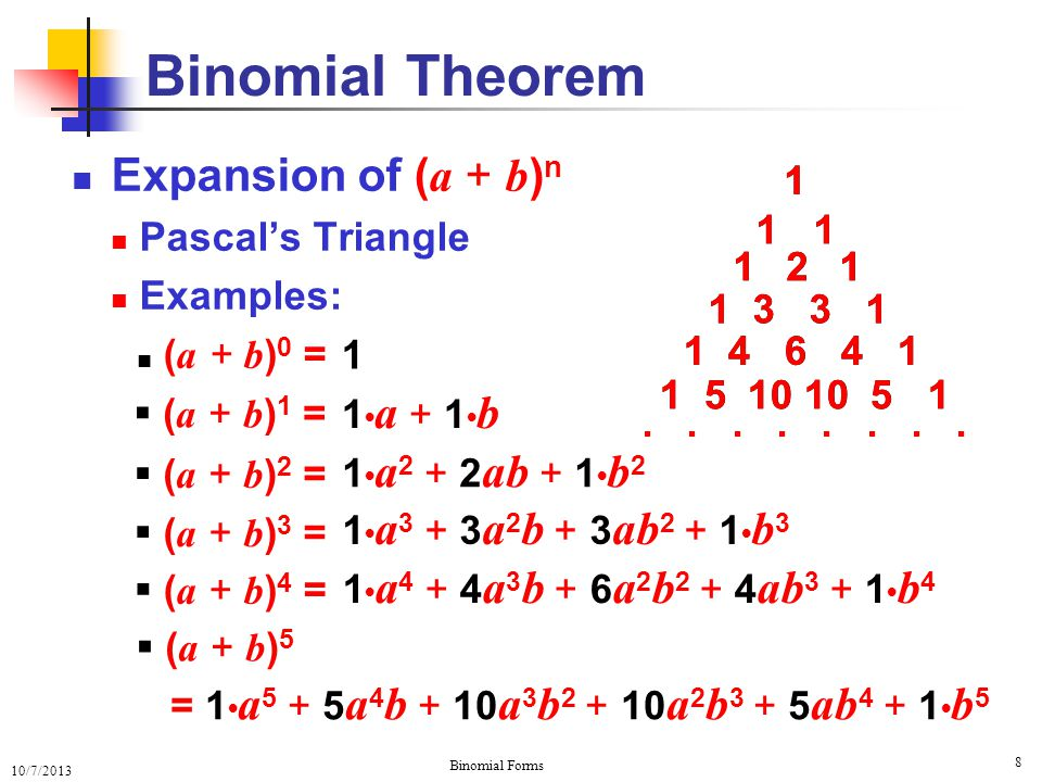10/7/2013 Binomial Forms Expansion of ( a + b ) n Pascal's Triangle Examples: ( a + b ) 0 = Binomial Theorem