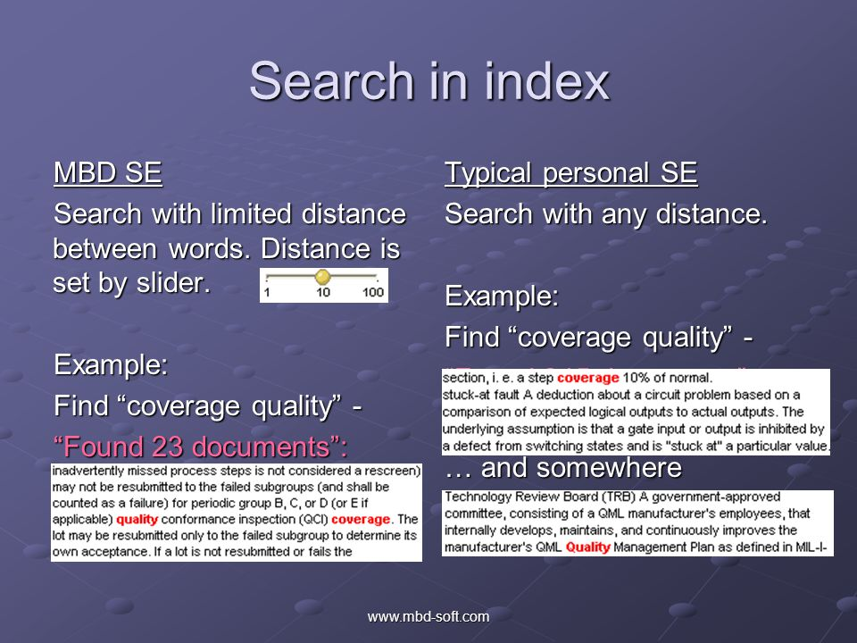 Search in index MBD SE Search with limited distance between words.