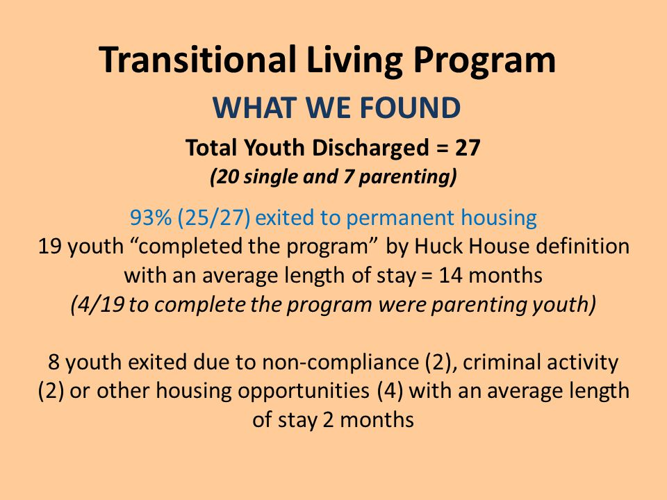"Transitional Living Program WHAT WE FOUND Total Youth Discharged = 27 (20 single and 7 parenting) 93% (25/27) exited to permanent housing 19 youth ""co"