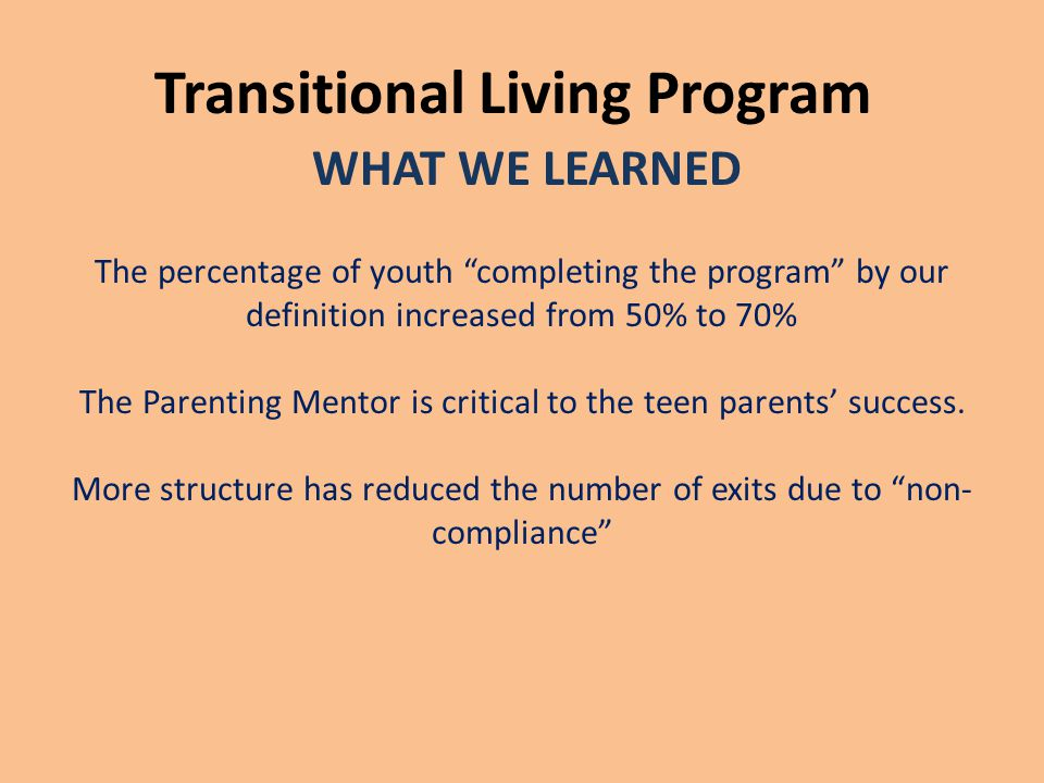 "Transitional Living Program WHAT WE LEARNED The percentage of youth ""completing the program"" by our definition increased from 50% to 70% The Parenting"