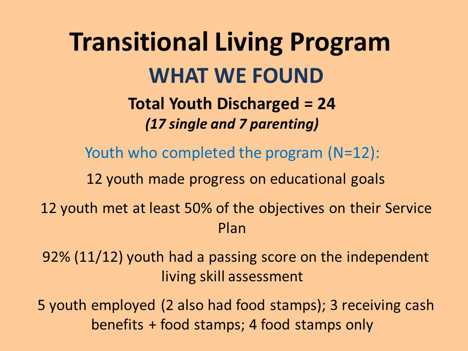 Transitional Living Program WHAT WE FOUND Total Youth Discharged = 24 (17 single and 7 parenting) Youth who completed the program (N=12): 12 youth made progress on educational goals 12 youth met at least 50% of the objectives on their Service Plan 92% (11/12) youth had a passing score on the independent living skill assessment 5 youth employed (2 also had food stamps); 3 receiving cash benefits + food stamps; 4 food stamps only
