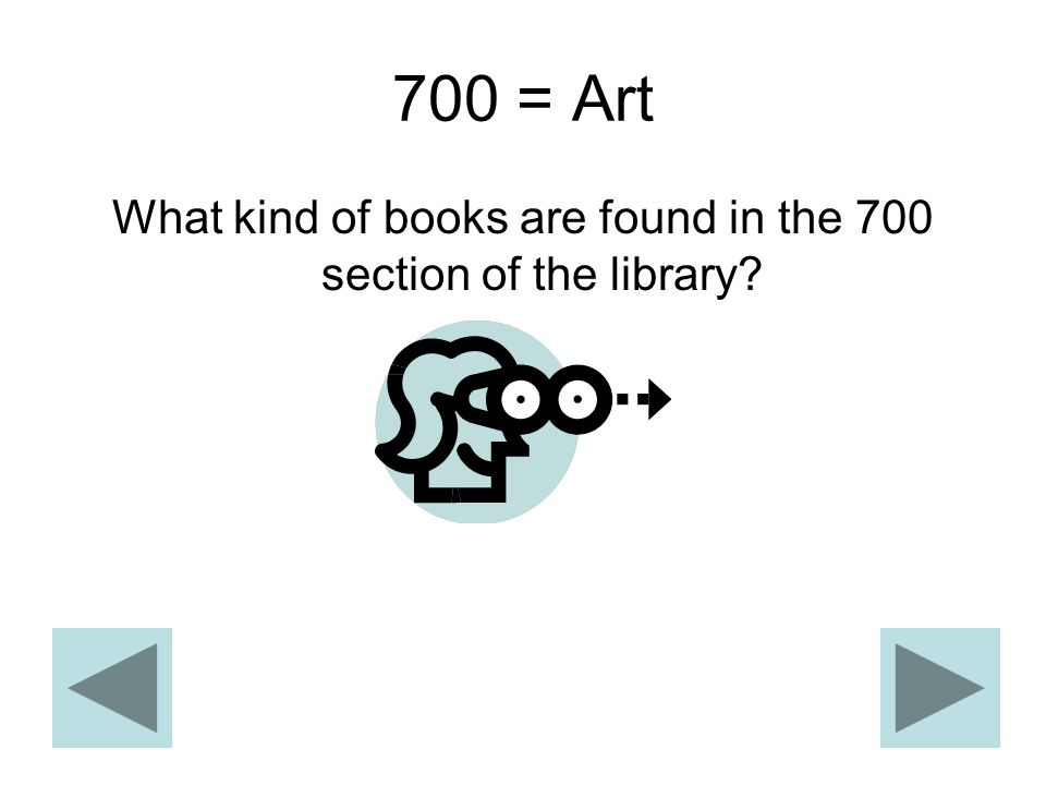 700 = Art What kind of books are found in the 700 section of the library?
