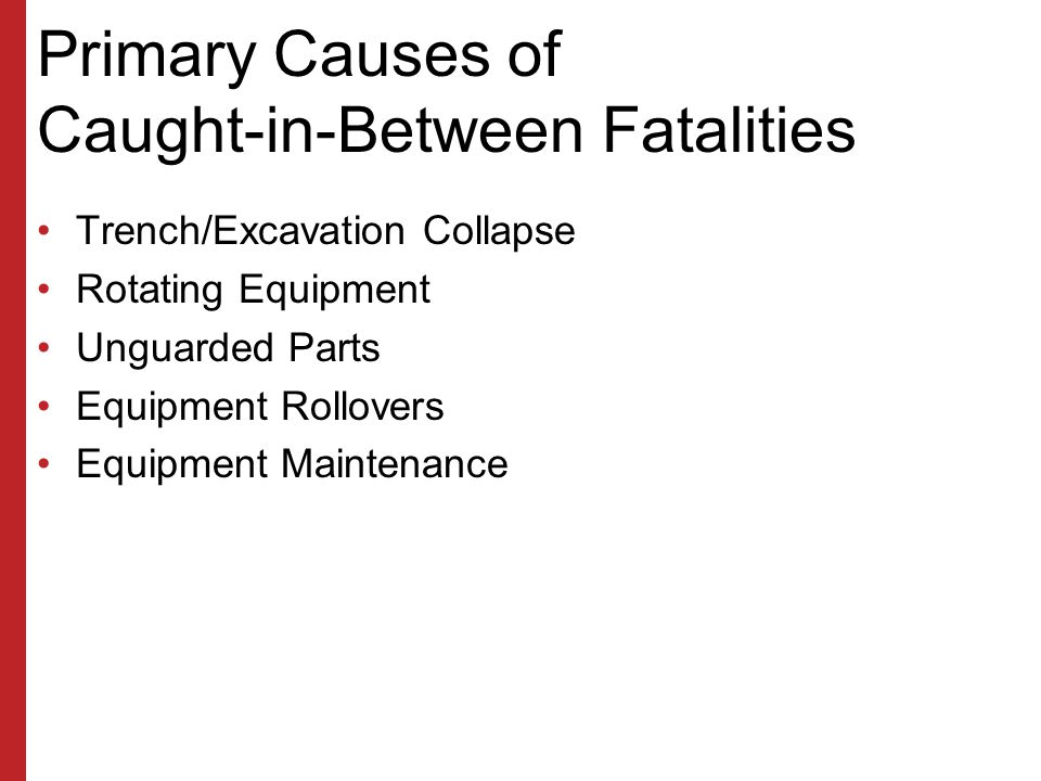 Primary Causes of Struck-by Fatalities Falling Objects –Rigging Failure –Loose or Shifting Materials –Equipment Tipover or Malfunction –Lack of Overhe