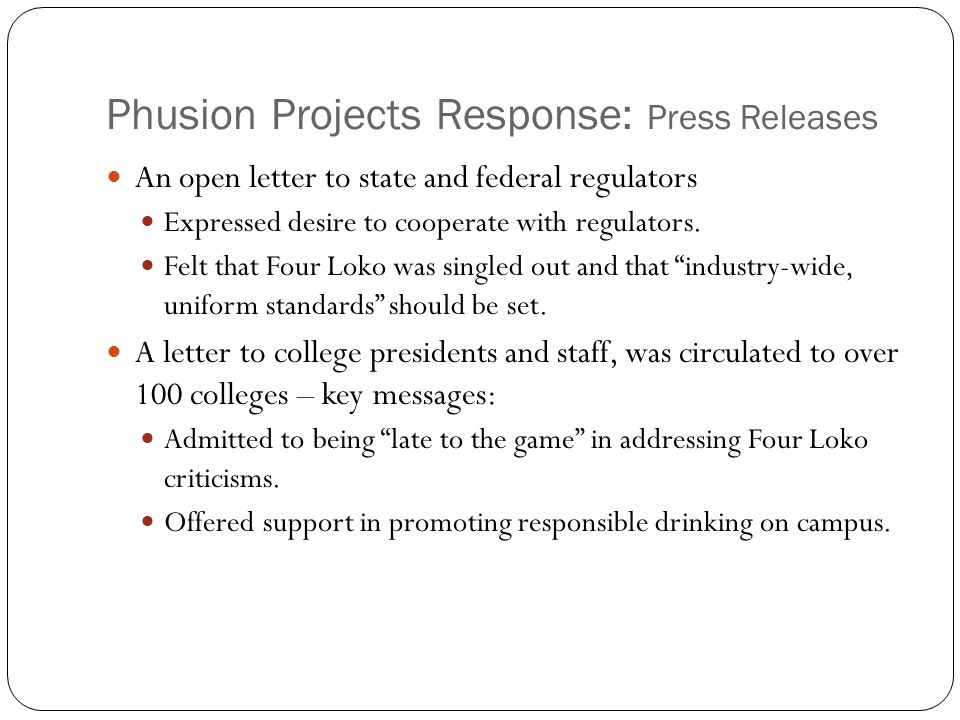 Phusion Projects Response: Press Releases An open letter to state and federal regulators Expressed desire to cooperate with regulators.