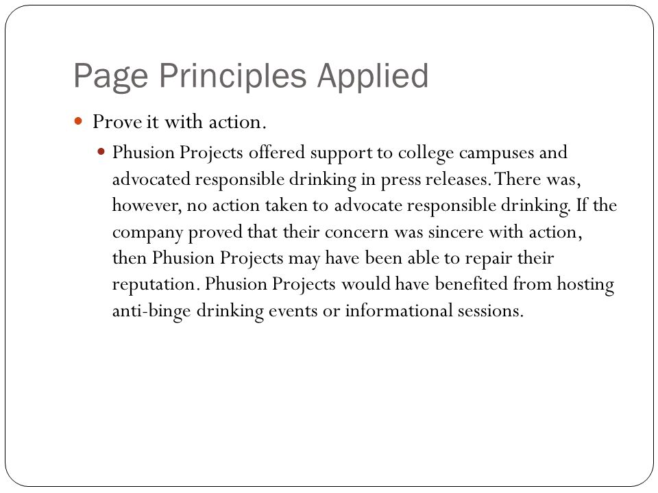 Page Principles Applied Prove it with action.