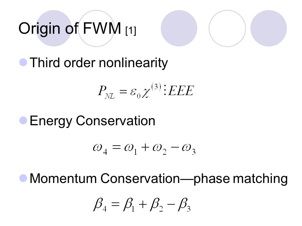Origin of FWM [1] Third order nonlinearity Energy Conservation Momentum Conservation—phase matching