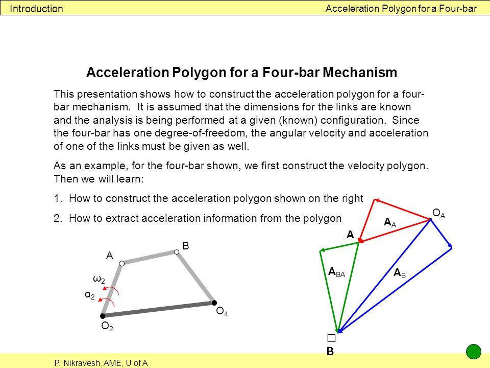 P. Nikravesh, AME, U of A Acceleration Polygon for a Four-bar Introduction Acceleration Polygon for a Four-bar Mechanism This presentation shows how t