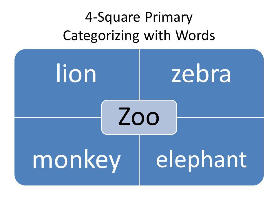 4-Square Primary Categorizing with Words lionzebra monkey elephant Zoo