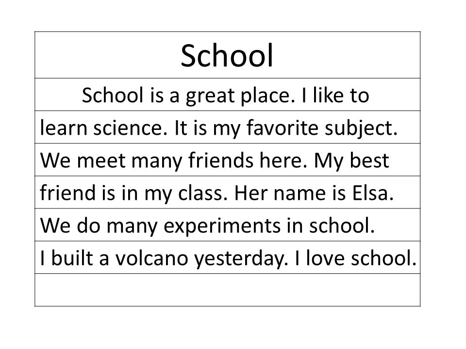School School is a great place.I like to learn science.
