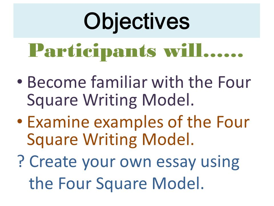 Objectives Become familiar with the Four Square Writing Model.